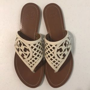 Tory Burch ivory thong sandals